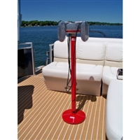 RCA Drive-In Movie Speaker Set With Round Red Powder Coated Metal Pole & Base
