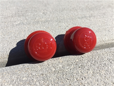 2 Shiny Cherry Red RCA PolyCarbonate Drive-In Movie Speaker Volume Control Knobs