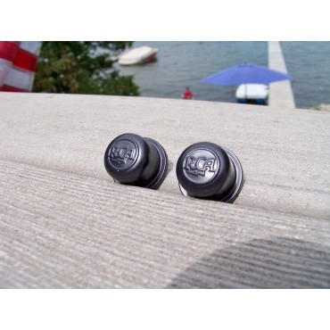 Two New Black Split Shaft RCA Drive-In Movie Speaker Volume Control Knobs
