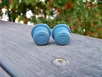 Two New Blue Split Shaft RCA Drive-In Movie Speaker Volume Control Knobs