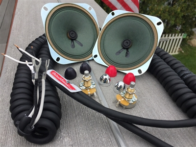 Curly Cord Do It Yourself Drive-In Speaker Restoration Kit With Choice of Red Black or Chrome Knobs