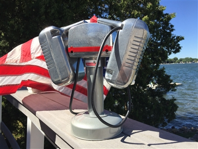 1960s Detroit Diecast Mark II Drive-In Movie Speaker Set With Silver Table Top Pole and Base
